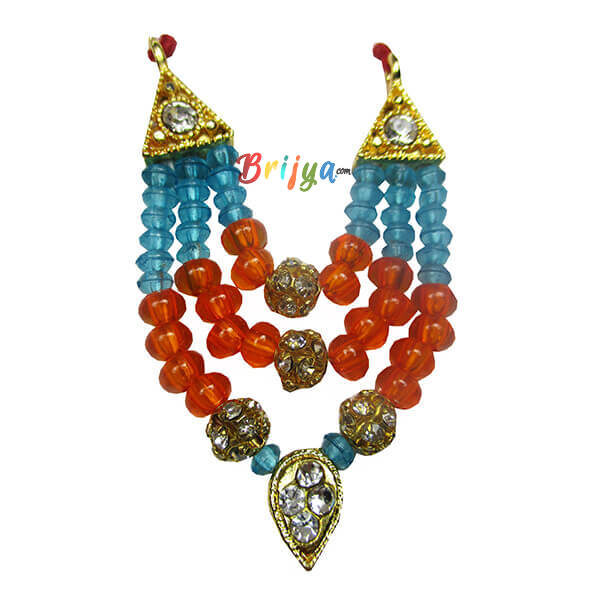 Orange SkyBlue Pearl Stone Laddu Gopal Mala