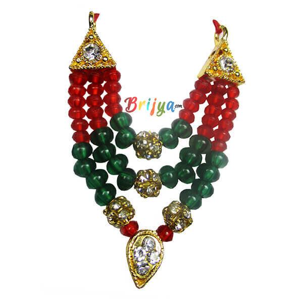Red Green Pearl Stone Laddu Gopal Mala