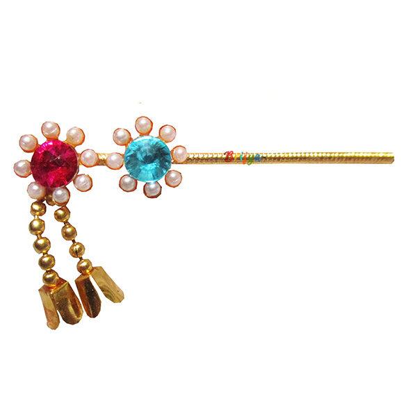 KF10-Elegant-Pink-Skyblue-Perl-Stone-Krishna-Bansuri