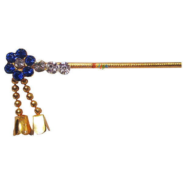 KF14-B Beautiful Blue Stone Work Krishna Bansi