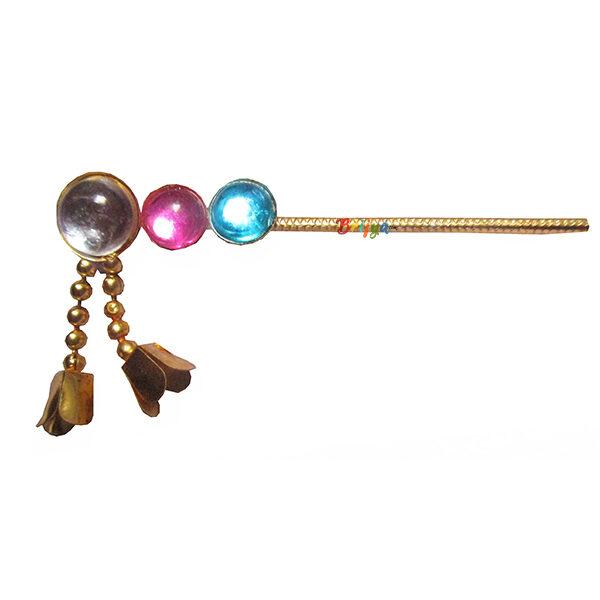KF17-PSB Beautiful Pink Sky Blue Stone Krishna Flute