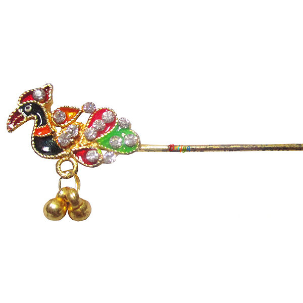 KF19-MU Beautiful Peacock Stone Meena Work Flute