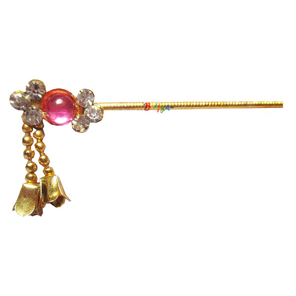 KF9-Beautiful-Pink White Stone Krishna Bansuri