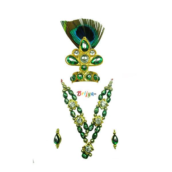 Beautiful Green Beads Stone Morpankh Mukut Mala