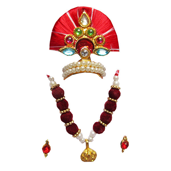 LGMM7-R Beautiful Red Thread Pearl Work Mukut Mala