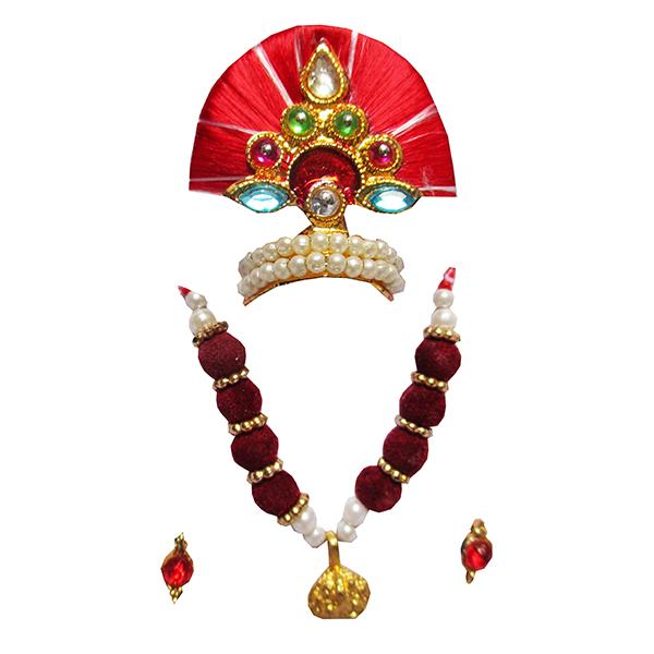 LGMM7-R Beautiful Red Thread Pearl Work Mukut Mala