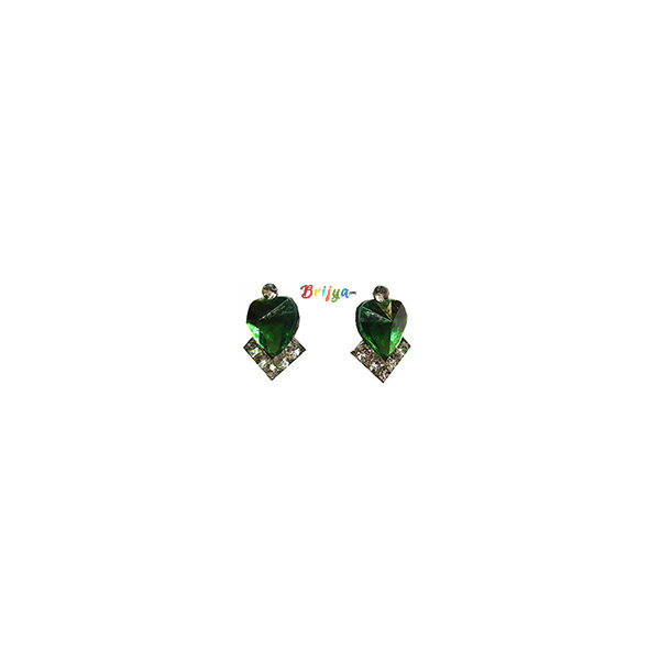 KB2-A Pair Green White Stone Radha Krishna Ear Rings