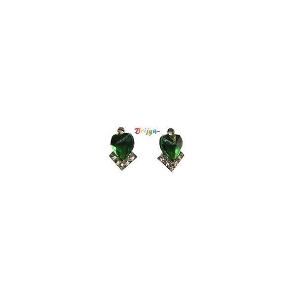 KB2-A Pair Green White Stone Radha Krishna Ear Rings