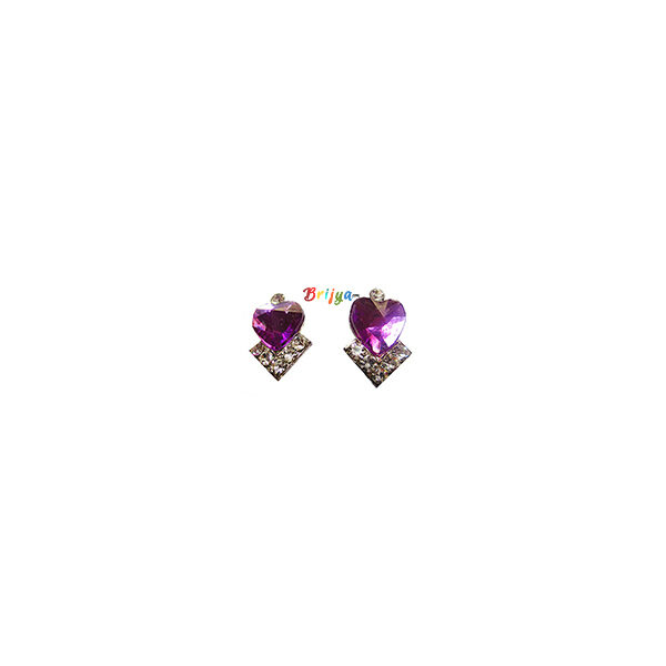 KB2-A Pair Purple White Stone Radha Krishna Ear Rings
