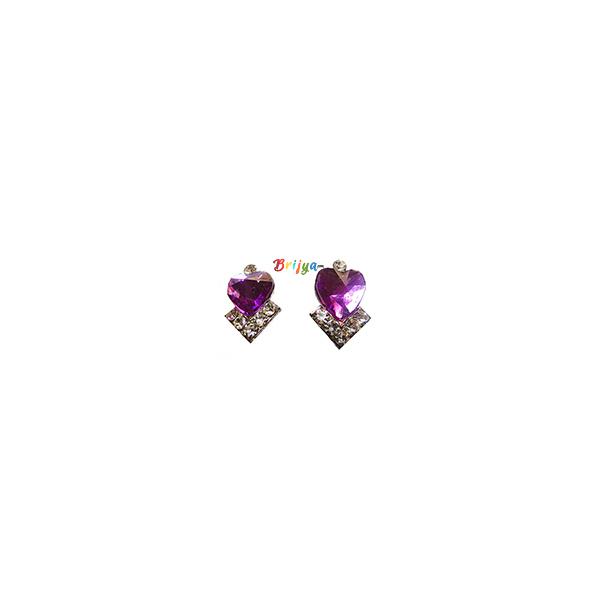 KB2-A Pair Purple White Stone Radha Krishna Ear Rings