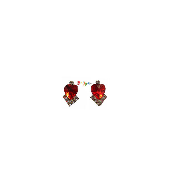 KB2-A Pair Red White Stone Radha Krishna Ear Rings
