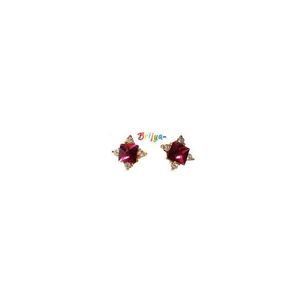 KB3-A Pair Magenta Stone Radha Krisnha Ear Rings