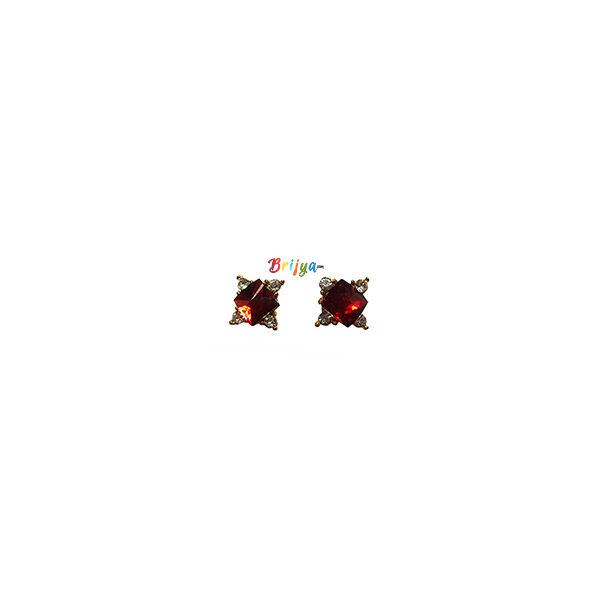 KB3-A Pair Red Stone Radha Krisnha Ear Rings