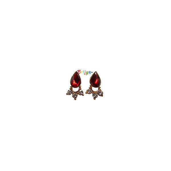 KB4-A Pair Red Stone Krishna Ear Ring