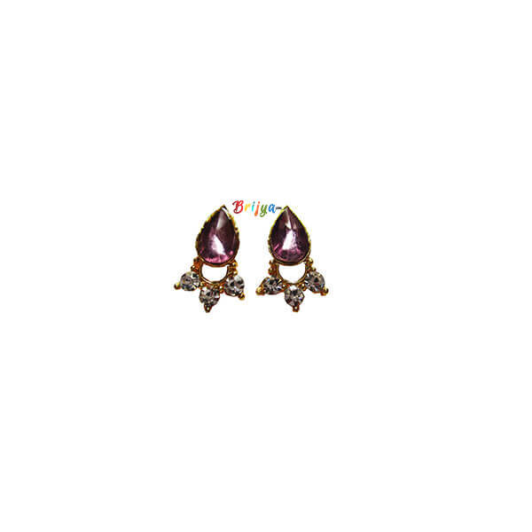 KB-CO Pair Coffee Stone Krishna Ear Ring