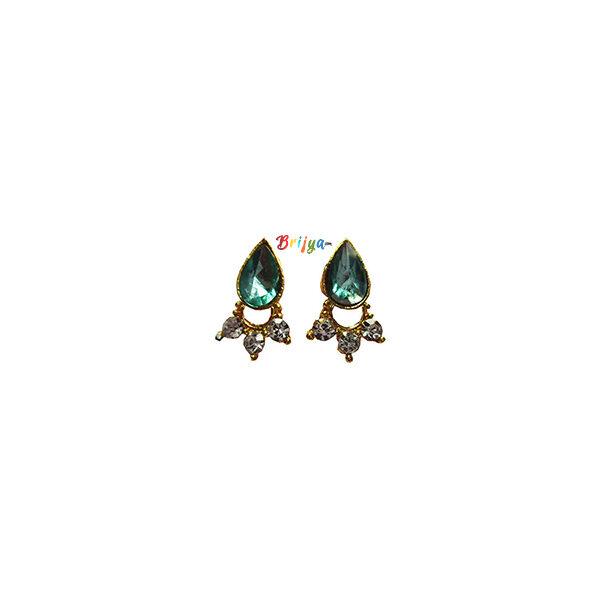 KB4-Beautiful A Pair Parrot Green Stone Krishna Ear Ring