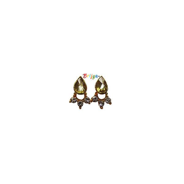 KB4-Beautiful A Pair Yellow Stone Krishna Ear Ring