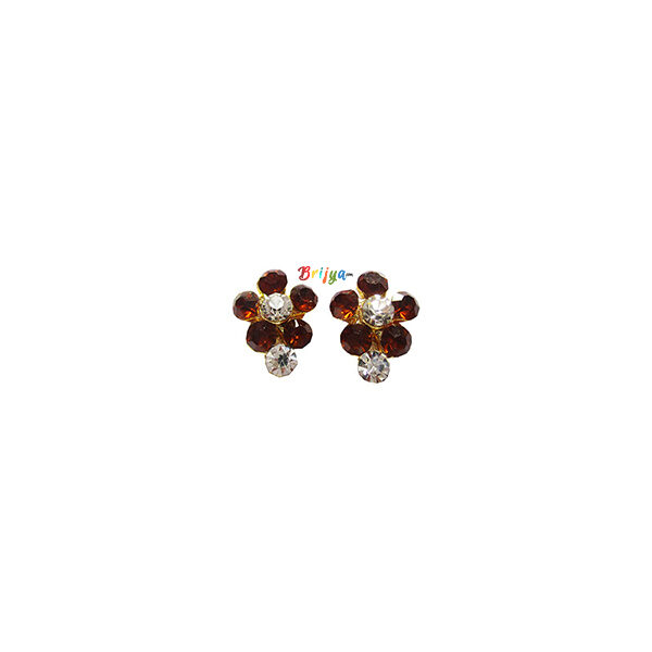 KB6- A Pair Radha Krishna Coffee White Stone Ear Ring