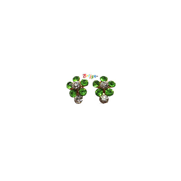 KB6- A Pair Radha Krishna P Green White Stone Ear Ring