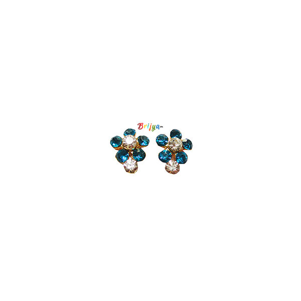 KB6- A Pair Radha Krishna SkyBlue White Stone Ear Ring