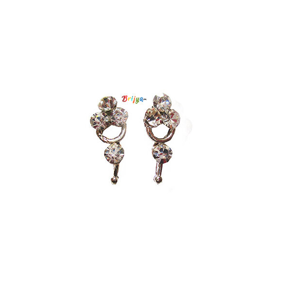 KB7-A Pair Radha Krishna White Stone Ear Ring