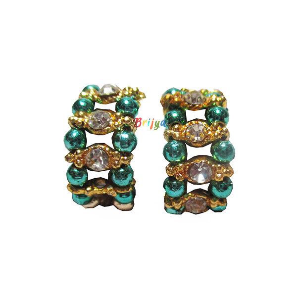 KK1-White Stone Green Pearl Krishna Bracelet
