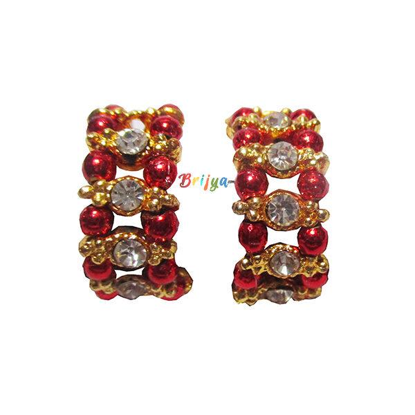 KK1-White Stone Red Pearl Krishna Bracelet