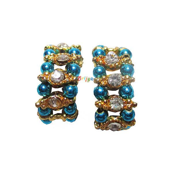 KK1-White Stone Sky Blue Pearl Krishna Bracelet