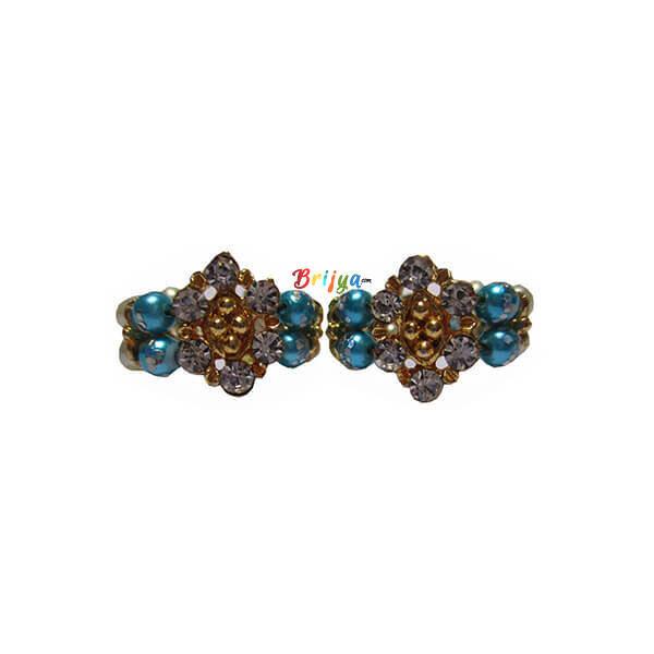 KK8-Sky Blue White Pearl Stone Krishna Bracelet