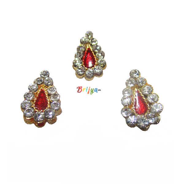 KST1-Set Of Three White Stone Meenakaei Work Thakorji Tilak