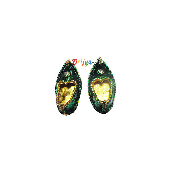 KC3-G A Pair Of Golden Green Meenakari Krishna Charan