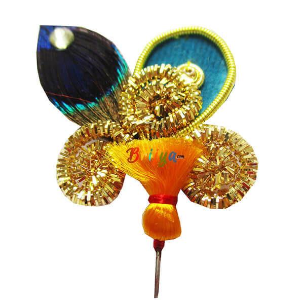KM4-Y Fine Jardosi Work Morpankh Thakorji Yellow Kalangi
