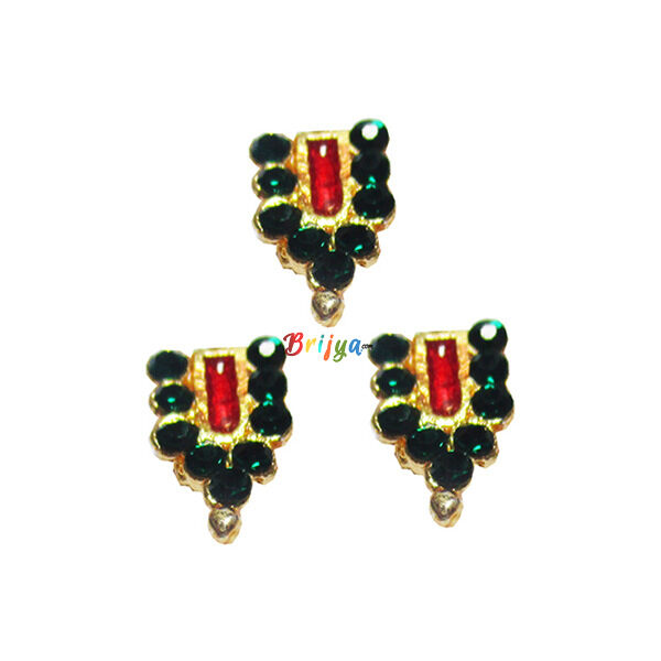 KST4-G Set Of Three Green Stone Krishnaji Tilak