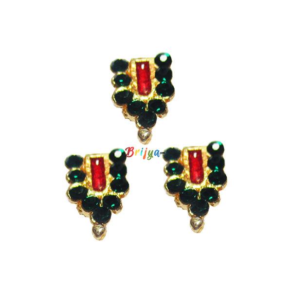 KST4-G Set Of Three Green Stone Krishnaji Tilak