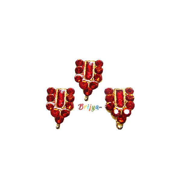 KST4-R Set Of Three Red Stone Krishnaji Tilak
