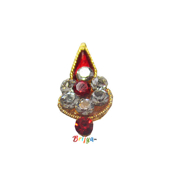 KST5-R Beautiful Fancy Red White Stone Krishna Tilak