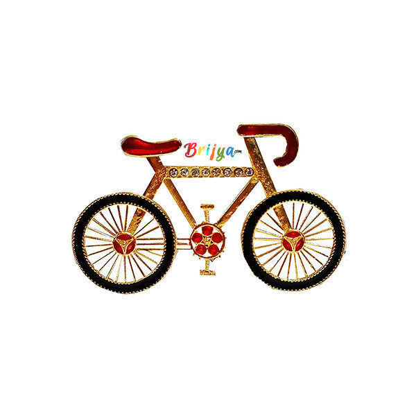 DP9-BY Golden Meena Stone Work Bicycle Toy For Gopal Ji