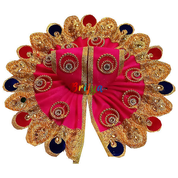 GD29-M Magenta Jari Lace Golden Ring Work kanha Ji Ki Dress