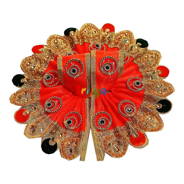 GD29-O Orange Jari Lace Golden Ring Work kanha Ji Ki Dress