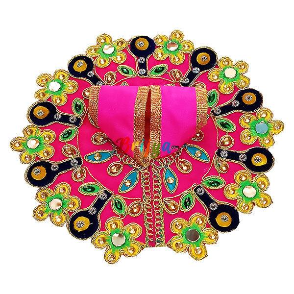 GD32-P Pink Rich kalabattu Glass Work Dress For Laddu Gopal