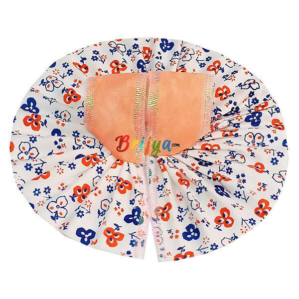 GD35-O Light Orange White Mix Cotton Laddu Gopal Dress (2)