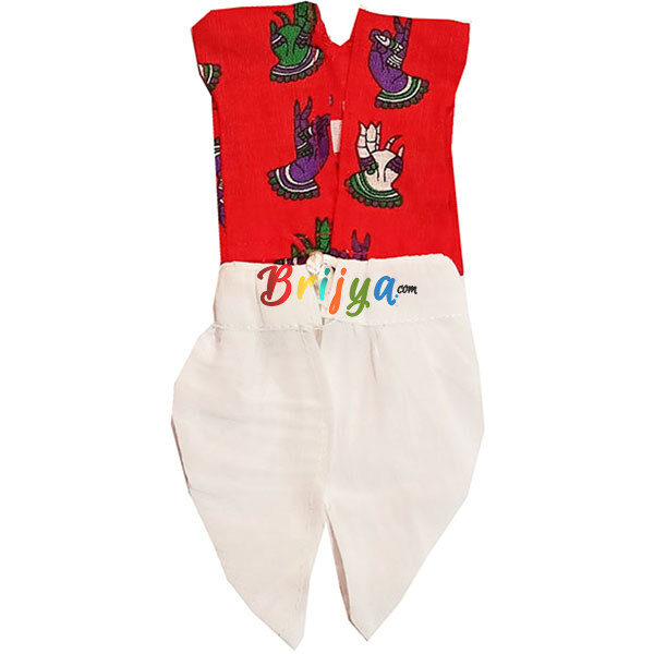 GD38-R Red White Dhoti Kurta For Laddu Gopal