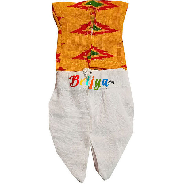 GD38-Y1 Printed Yellow White Dhoti Kurta For Laddu Gopal