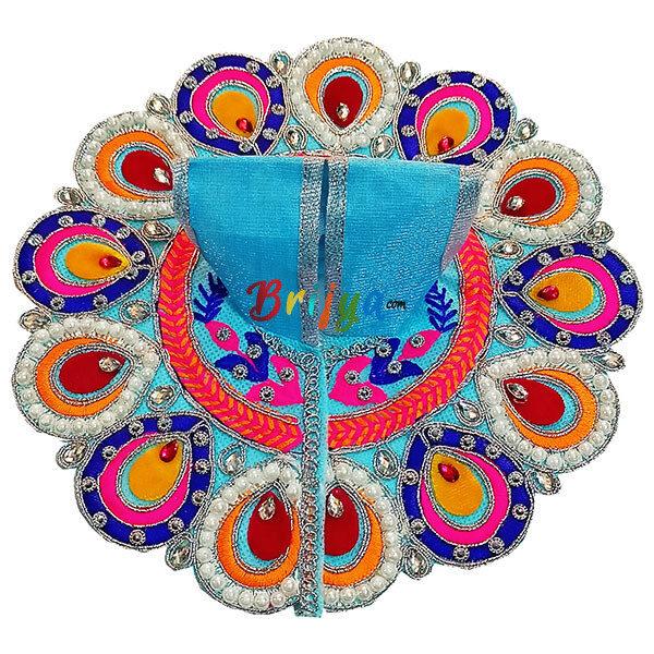 GD39-SB Sky Blue Resham parl Embroidery kanha ji poshak