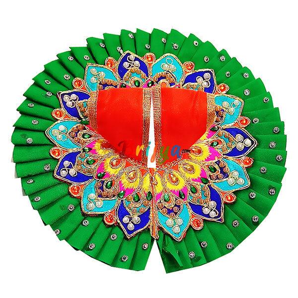 GD40-G Green Resham Stone Work Laddu Gopal JI ki Dress
