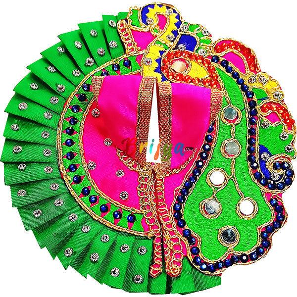 GD41-M Magenta Peacock Design Laddu Gopal ji Dress