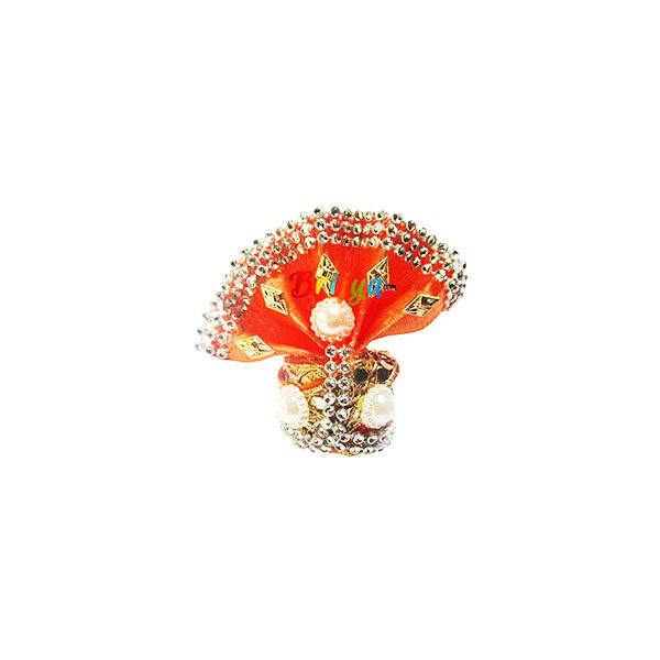 GP5-O Orange White Parl Lace Laddu Gopal Pugree