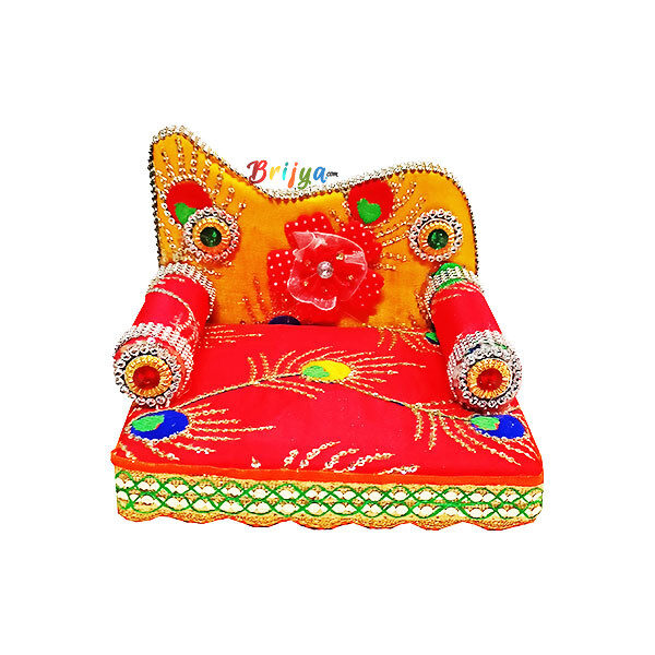 GS6-R Red Yellow Flower Embroidery Singhasan for Gopal Ji