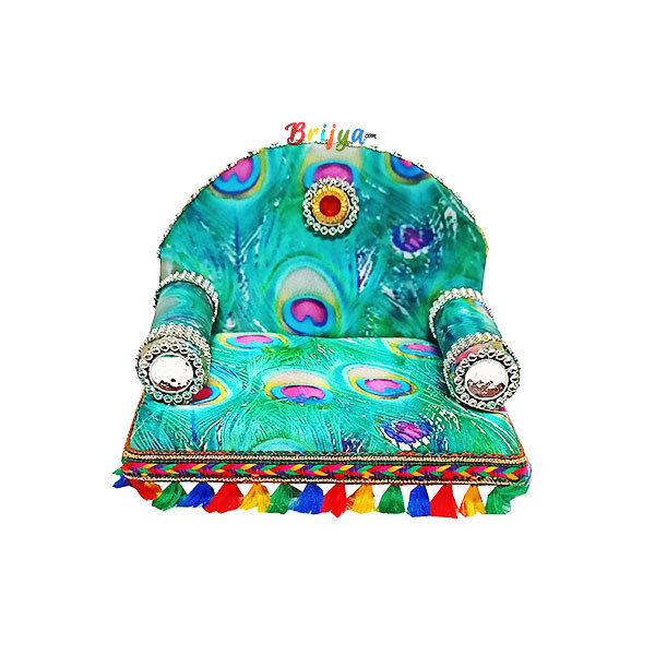 GS7-G Beautiful Mor Pankh Printed Singhasan for Krishna Gopal ji