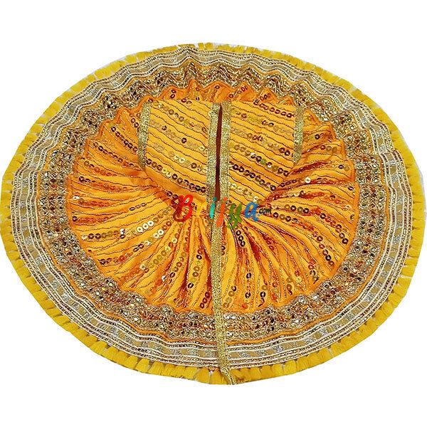 LGD20-Y Yellow Silk Sitara Work Laddu Gopal Poshak
